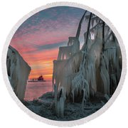 Distant Lighthouse Round Beach Towel