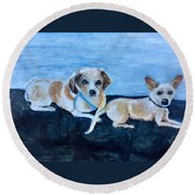 Dogs Resting Round Beach Towel