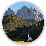 Dolomites Mountain Church Round Beach Towel