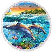 Dolphin Bay Round Beach Towel