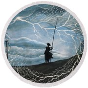 Round Beach Towel featuring the painting Don Quijote by Edwin Alverio