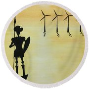 Round Beach Towel featuring the painting Don Quixote by Edwin Alverio