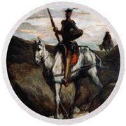 Don Quixote In The Mountains Round Beach Towel