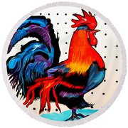 Doodle Do Rooster Round Beach Towel