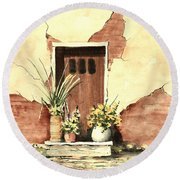 Round Beach Towel featuring the painting Door With Pots by Sam Sidders
