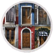 doors and windows of Burano - Venice Round Beach Towel