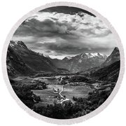 Round Beach Towel featuring the photograph Down In The Valley by Dmytro Korol