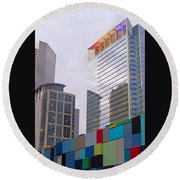 #downtown #houston From #discoverygreen Round Beach Towel by Austin Tuxedo Cat