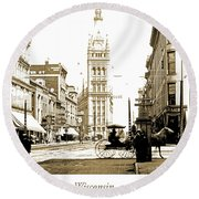 Downtown Milwaukee, C. 1915-1920, Vintage Photograph Round Beach Towel