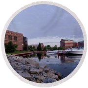 Round Beach Towel featuring the photograph Downtown Neenah by Joel Witmeyer