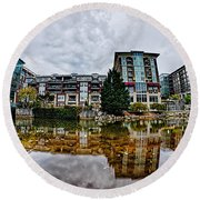 Downtown Of Greenville South Carolina Around Falls Park Round Beach Towel