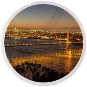 Downtown San Francisco And Golden Gate Bridge Just Before Sunris Round Beach Towel