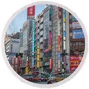 Downtown Tokyo Round Beach Towel by Patricia Hofmeester