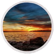 Dramatic Sunset Round Beach Towel by Doug Long