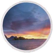 Round Beach Towel featuring the photograph Dreamy Sunset by Maciej Markiewicz