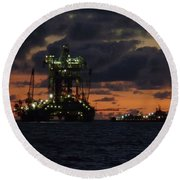 Drill Rig At Dusk Round Beach Towel
