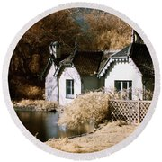 Duck Island Cottage Round Beach Towel by Helga Novelli