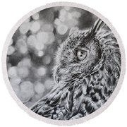 Eagle Owl  Round Beach Towel