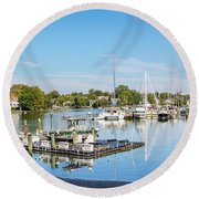 Early Fall Day On Spa Creek Round Beach Towel