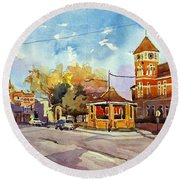 Early Morning Downtown Fairfield Round Beach Towel