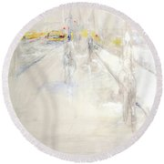 Early Winter In Manhattan Round Beach Towel