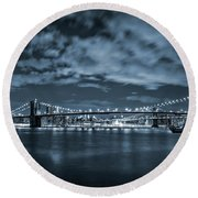 East River View Round Beach Towel by Az Jackson