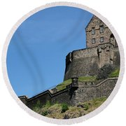 Round Beach Towel featuring the photograph Edinburgh Castle by Jeremy Lavender Photography