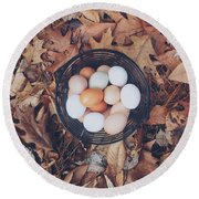 Eggs Round Beach Towel