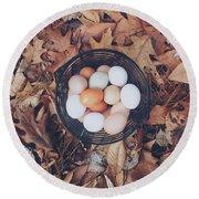Eggs Round Beach Towel