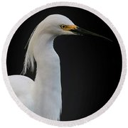 Egret Round Beach Towel by Cyndy Doty
