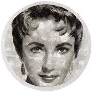 Elizabeth Taylor, Vintage Hollywood Legend Round Beach Towel by Mary Bassett