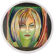 Round Beach Towel featuring the painting Emerald Girl by Sylvia Kula