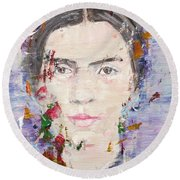 Round Beach Towel featuring the painting Emily Dickinson - Oil Portrait by Fabrizio Cassetta