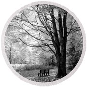 Empty Bench Round Beach Towel by David Stasiak