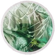 Encaustic Abstract Green Foliage Round Beach Towel