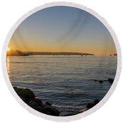 English Bay Sunset Round Beach Towel