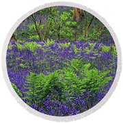 English Bluebell Woodland Round Beach Towel