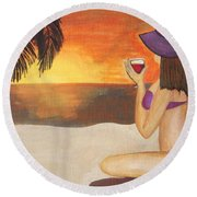 Enjoy The Beach Round Beach Towel