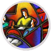 Round Beach Towel featuring the painting Enterprise by Leon Zernitsky
