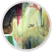 Round Beach Towel featuring the painting Envisage by Robin Maria Pedrero