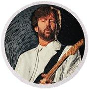Eric Clapton Round Beach Towel by Taylan Apukovska