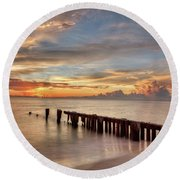 Evening Delight Round Beach Towel by Nick  Shirghio