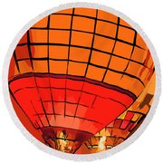 Evening Glow Red And Yellow In Abstract Round Beach Towel