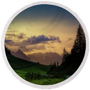 Evening In The Alps Round Beach Towel