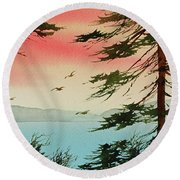 Round Beach Towel featuring the painting Evening Light by James Williamson