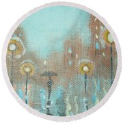 Round Beach Towel featuring the painting Evening Stroll by Raymond Doward