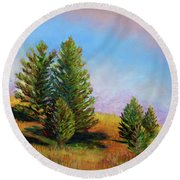 Evening Sun In Yellowstone Round Beach Towel