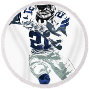 Ezekiel Elliott Dallas Cowboys Pixel Art 6 Round Beach Towel by Joe Hamilton