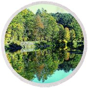 Fall On The Ottauquechee River Round Beach Towel