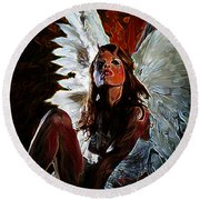 Fallen Angel Round Beach Towel